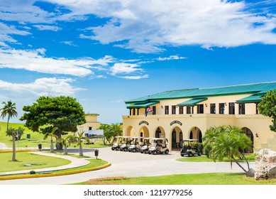 Varadero, Cuba - September 24, 2018: Public golf course with view of the green and the Caddy house in Varadero Cuba - Serie Cuba Reportage