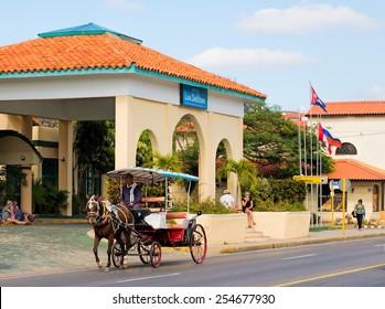 VARADERO- FEB 11: Horse Carriage on one of the main streets in Varadero, Cuba on Feb. 11, 2015