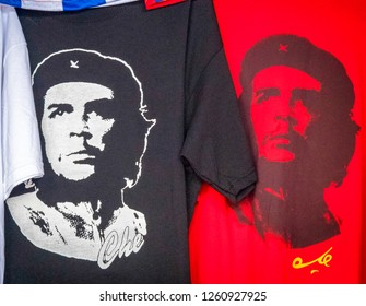 Varadero, Matanzas, Cuba- September 9, 2018: Cuban souvenirs at kiosk. Black, red and other colored Che Guevara T-shirts on display. They are one of the best sellers souvenirs in the island