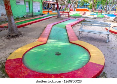 Varadero, Matanzas, Cuba- September 9, 2018: Mini golf court named 'El Golfito'. No people in the first plane. The place is a popular tourist attraction for children visiting the resort town.