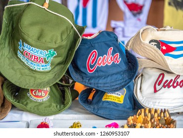 Varadero, Matanzas, Cuba- September 9, 2018: Rows of souvenir hats on display in a shop. Selling souvenirs is one of the most successful private business in the Caribbean island