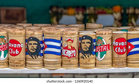 Varadero, Matanzas, Cuba-September 9, 2018: Cuban tourism souvenirs.  Array of different Havana Club wooden drinking mugs. They are very popular objects for tourists to buy