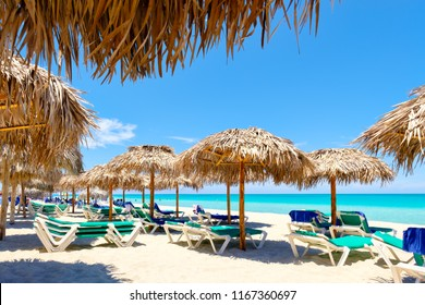 VARADERO,CUBA - AUGUST 23,2018 : The beautiful beach of Varadero in Cuba on a sunny summer day