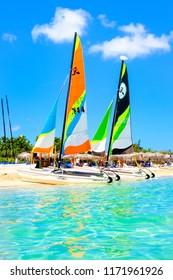 VARADERO,CUBA - AUGUST 23,2018 : The beautiful beach of Varadero in Cuba on a sunny summer day