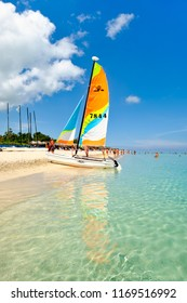VARADERO,CUBA - AUGUST 23,2018 : Sailboats at the beautiful beach of Varadero in Cuba on a sunny summer day