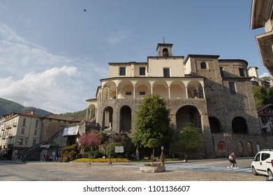 VARALLO SESIA, ITALY - 25 APRIL 2018: aLocal life under the Collegiata of San Gaudenzio, ancient church built over natural rocks