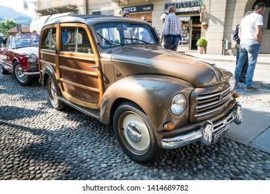 Varallo Sesia, Italy - June 02, 2019: Classic car, Italian old Fiat 500 model Giardinetta (or Giardiniera) during a vintage cars rally