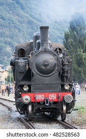 VARALLO SESIA / ITALY - SEPTEMBER 03, 2016: celebrations for the 130th anniversary of the construction of the railway line Novara-Varallo. Old steam locomotive in operation.