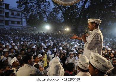 VARANASI - APRIL  27 : Arvind kejriwal speaking to his  muslim voters during a political rally on April  27 , 2014 in Varanasi , India.