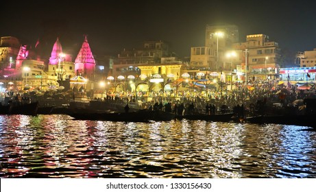 Varanasi, Banaras, Uttar Pradesh, India - February 16,2019: A boat parked in the Ganges River,Varanasi.Hindu holy city on Ganges Ganga