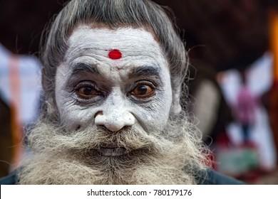 Varanasi, Banaras, Uttar Pradesh, India -  December 14, 2015 : Sadhu, An Indian Holy man.