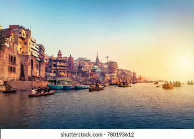 Varanasi, Banaras, Uttar Pradesh, India -  December 14, 2015 : Ghats (Banks) on the Ganges River, Hindu holy city on Ganges Ganga.