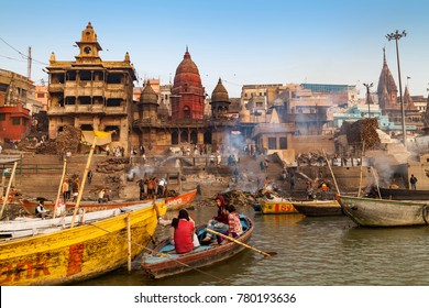 Varanasi, Banaras, Uttar Pradesh, India -  December 14, 2015 : The rite of cremations at Manikarnika Ghat, the primary  It is most known for being a place of Hindu.