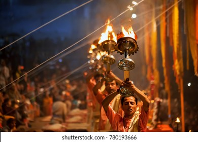 Varanasi, Banaras, Uttar Pradesh, India -  December 13, 2015 : Hindu priests perform an Arti worship ceremony at  Ganges Rive.