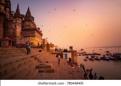 Varanasi, Banaras, Uttar Pradesh, India -  December 13, 2015 : Ghats (Banks) on the Ganges River, Hindu holy city on Ganges Ganga.