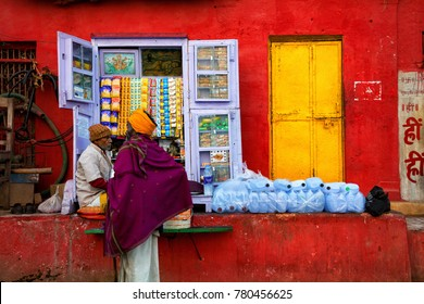 Varanasi, Banaras, Uttar Pradesh, India -  December 13, 2015 : Street Shop, The narrow alleys of old Varanasi's old town, Old street.