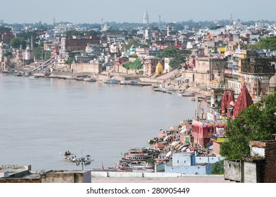 varanasi cityscape and Ganges river at sunset, India