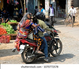 VARANASI - February 15, 2017:Indian family riding on their motorcycle