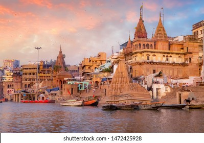 Varanasi historic city architecture at sunset with view of Ganges river ghats