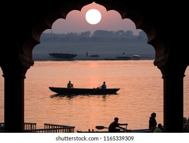 Varanasi. India. 10.16.06. Sunrise over the Holy River Ganges in Varanasi in the Uttar Pradesh region of northern India
