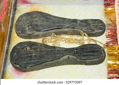 varanasi / India 13 December 2015 , Kabir's Khadau (Footwear) at kabir chaura math in Varanasi India
