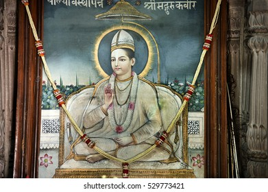 varanasi / India 13 December 2015 ,young kabir das painting Hanging in Samadhi Mandir (shrine ) in the Kabir chaura math at Varanasi India