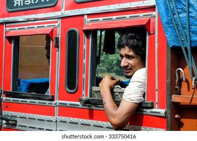 Varanasi ,India . 21- October -2015. Candid photo of truck driver crew.