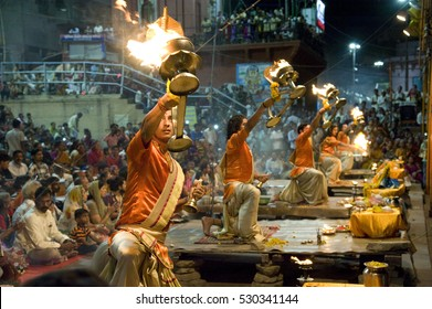 Varanasi / India 22 June 2015 An unidentified Hindu priest performs religious Ganga Aarti ritual   at Dashashwamedh Ghat in Varanasi  uttar pradesh India