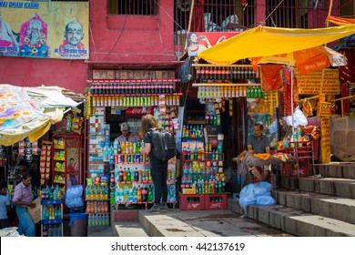 VARANASI, INDIA - 24 May 2016 : Small street shop which sell many product for daily life.