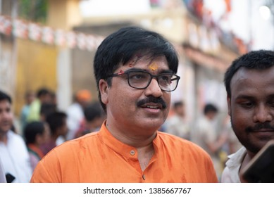 Varanasi / India 25 April 2019 BJP spokesperson prem shukla during roadshow in Varanasi northern Indian state of Uttar Pradesh