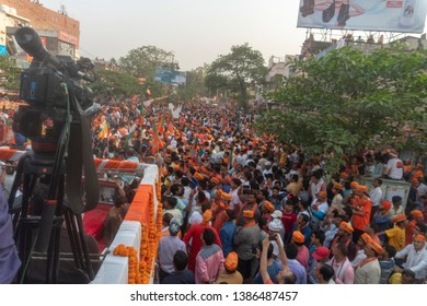 Varanasi / India 25 April 2019 BJP supporters during Prime Minister Narendra Modi roadshow before the filing of his nomination papers for the Lok Sabha polls in Varanasi Uttar Pradesh