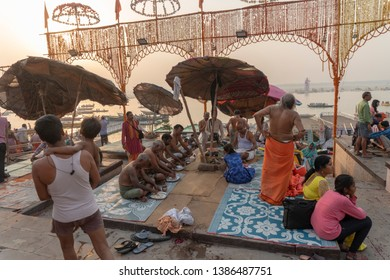 Varanasi / India 25 April 2019 People are performing Pind Daan on Dashaswamedh Ghat at kashi Uttar Pradesh
