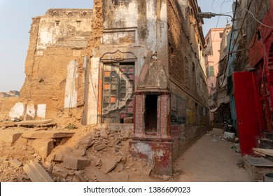 Varanasi / India 25 April 2019 Demolition work is in full swing for the Kashi Vishwanath Temple Corridor in Varanasi Uttar Pradesh