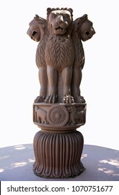Varanasi / India 25 March 2018 The famous sandstone sculpted Lion Capital of Ashoka is the national symbol of India at Sarnath in Varanasi  Uttar Pradesh India