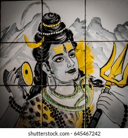 VARANASI, INDIA - 30 MAY 2015 : a picture of a painting of Hindu God Shiv Ji in a temple in Varanasi, India