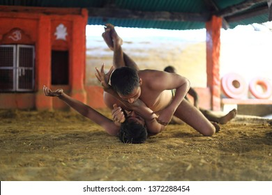 VARANASI, INDIA - 7 March, 2019:  Action of the wrestler (khusti) in akhara near Ganga river india, Varanasi