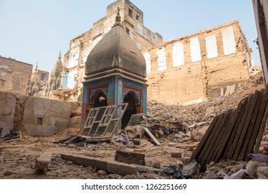 Varanasi / India 9 December 2018 Razed down rubble from demolished buildings in Varanasi to build a corridor between Kashi Vishwanath temple and the Ganga ghats at Varanasi Uttar Pradesh India