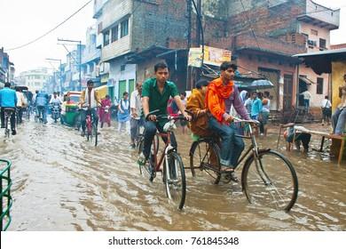 VARANASI, INDIA - AUGUST 11: Flooded street on August 11, 2011 in Varanasi, Uttar Pradesh, India. India's monsoon rains were 14 percent above normal in the week to Aug. 10, 2011.