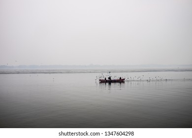 Varanasi, India - December 27, 2018, Fisherman rowing a boat in the Ganges and some Siberian migratory birds swimming and a bird flying by at River Ganges, Varanasi. Boats and temples line the River.