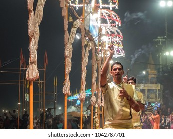 Varanasi, India - December, 9th, 2017. Ganga Aarti ceremony at Dasashvamedh Ghat.