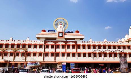 Varanasi, India - February 1, 2020: Crowd and vehicles at Varanasi railway station, the spiritual city of Uttar Prdesh, one of the important town of India.