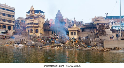 VARANASI, INDIA - February 16, 2017: The ceremony of the cremation of Manikarnika Ghat on the banks of the Ganges river in Varanasi, India.