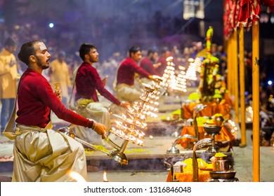 VARANASI, INDIA - JAN 31: Ganga aarti ceremony rituals performed by Hindu priests at Dashashwamedh Ghat in Varanasi Uttar Pradesh India on January 31, 2019
