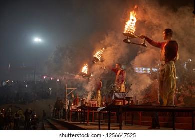 Varanasi, India, January 2016. Daily sunset ceremony of the Ganga Aarti.