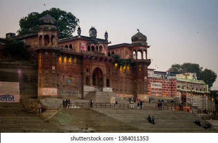 Varanasi, India - January 8, 2019 : Front view of Maharaja Chet Singh Palace seen while having a boat ride in the evening on river Ganges