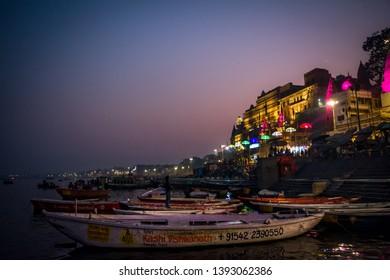 Varanasi, India : January 8, 2019 - night view of Dashashwamedh Ghat before evening aarti (prayer)