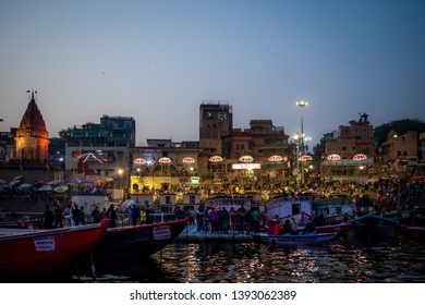 Varanasi, India : January 8, 2019 - People gathering at Dashashwamedh Ghat before the famous Ganga aarti at evening