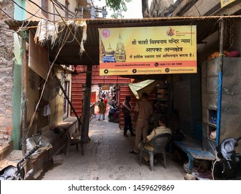 Varanasi / India - July 23 2019: The entrance to the Kashi Vishwanath temple in Varanasi on a late afternoon