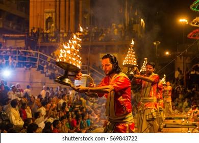 Varanasi, India - Mar 12, 2015: Ganga Aarti ceremony at Dasashvamedh Ghat
