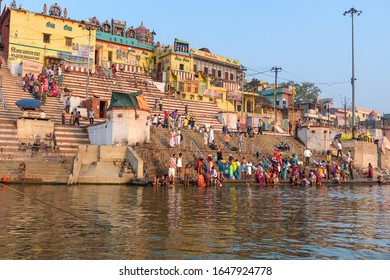 Varanasi, India - March 18, 2019: View of Kedar Ghat on the Ganges river in the morning